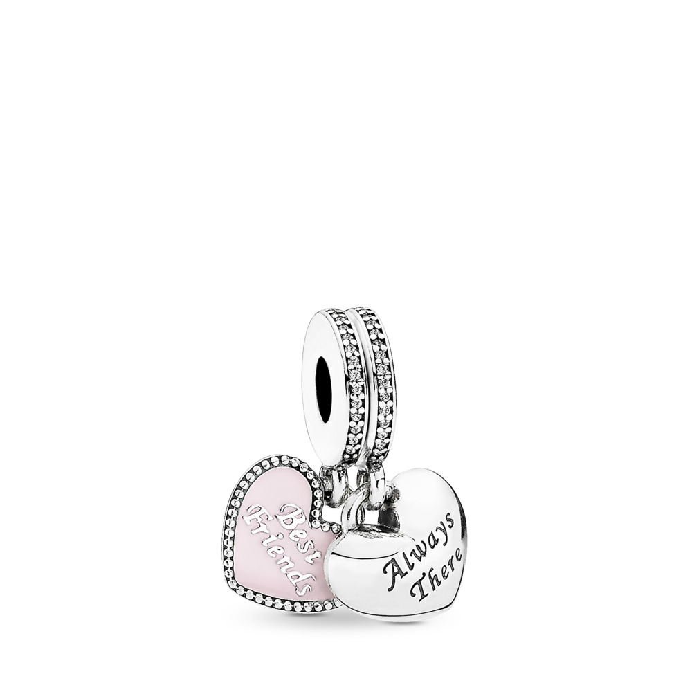 Best Friends Dangle Charm, Soft Pink Enamel & Clear CZ, Sterling Silver Oxidised, Enamel, Pink, Cubic Zirconia - PANDORA - #791950CZ