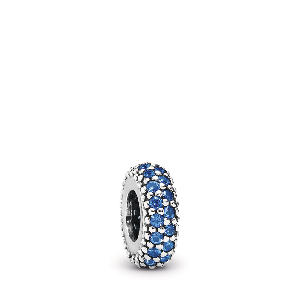 Inspiration Within Spacer, Blue Crystal, Sterling silver, Blue, Crystal - PANDORA - #791359NCB