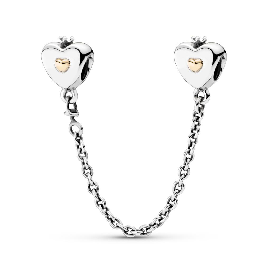 Heart & Crown Safety Chain, Two Tone - PANDORA - #791878