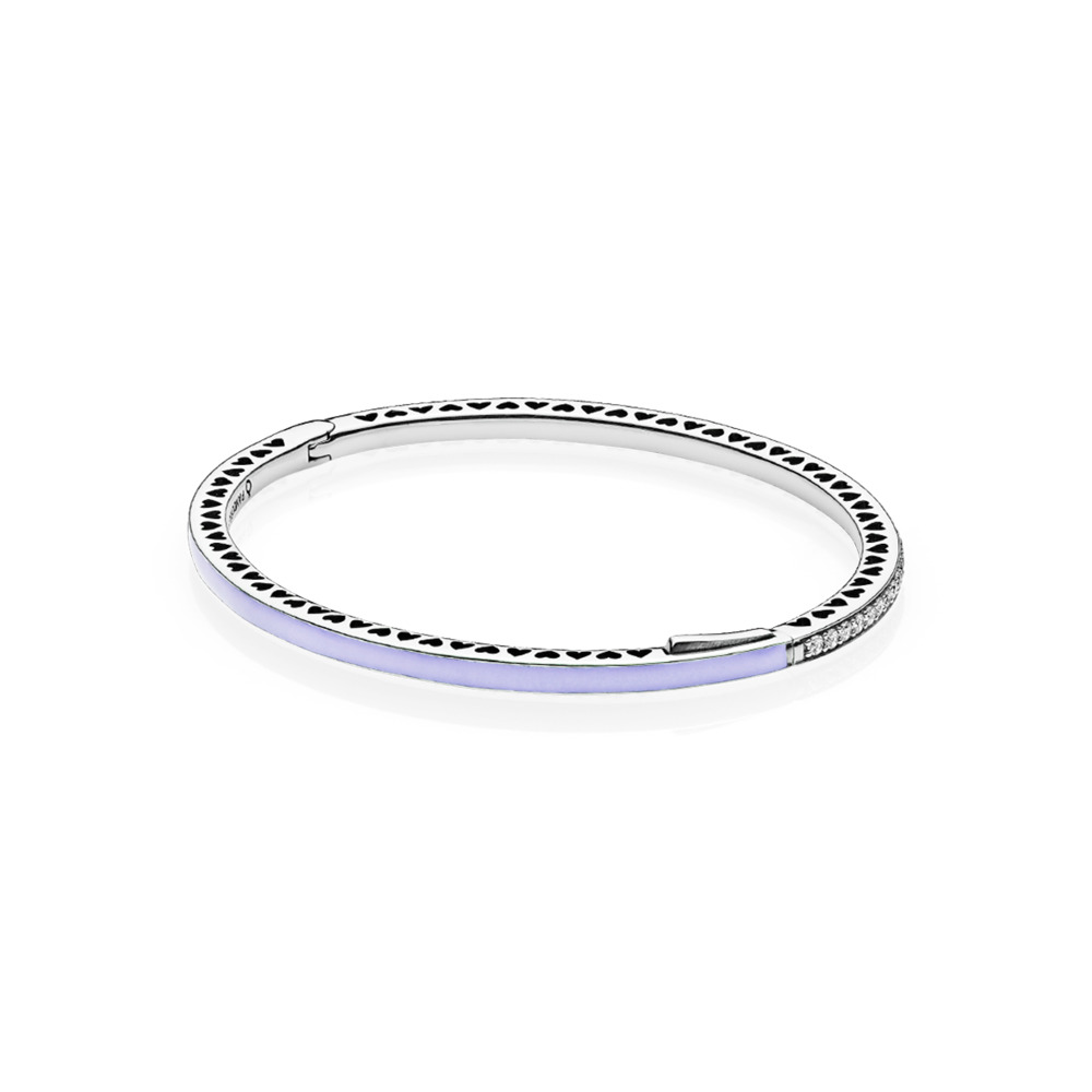 Radiant Hearts of PANDORA Bangle Bracelet, Lavender Enamel & Clear CZ, Sterling silver, Enamel, Purple, Cubic Zirconia - PANDORA - #590537EN66