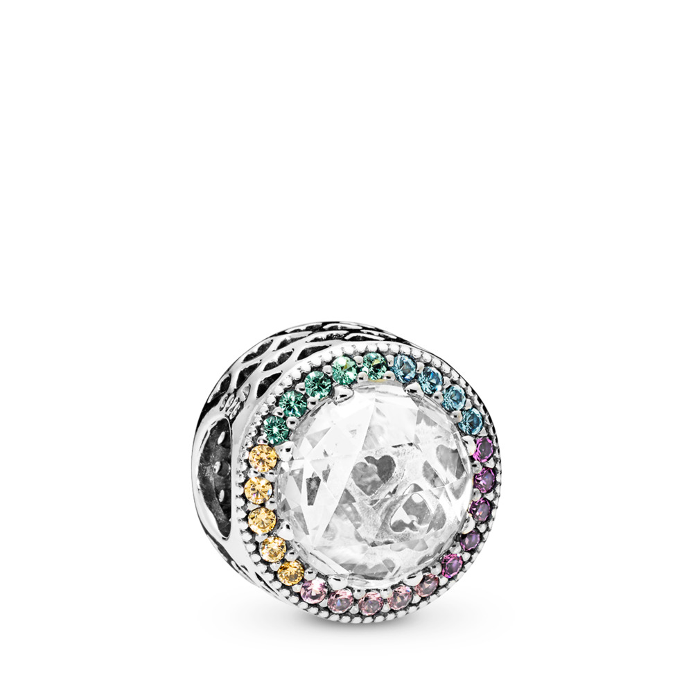 Multi-Color Radiant Hearts Charm, Multi-Colored CZ, Sterling silver, Blue, Mixed stones - PANDORA - #791725CZMX