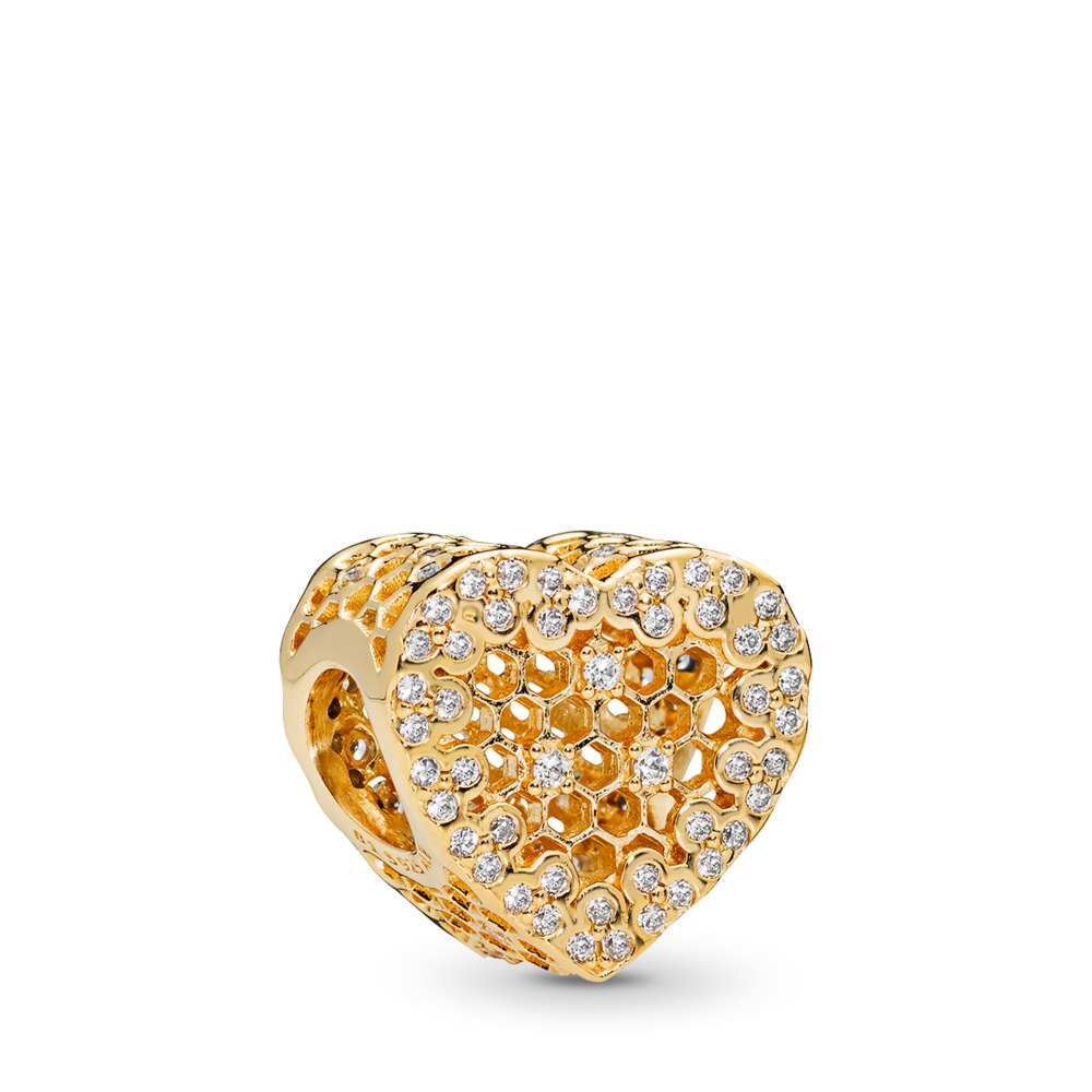 Honeycomb Lace Charm, PANDORA Shine™, 18ct Gold Plated, Cubic Zirconia - PANDORA - #767039CZ