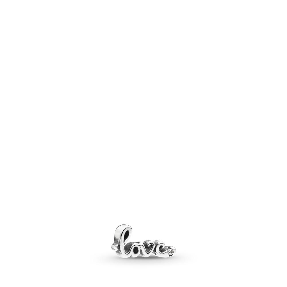 Love Script Petite Locket Charm, Sterling silver, Cubic Zirconia - PANDORA - #792171CZ
