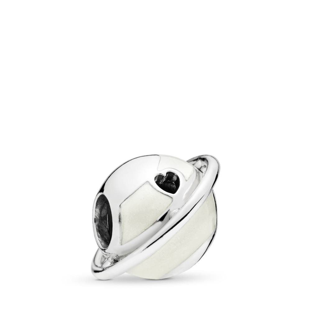 Planet of Love Charm, Silver Enamel, Sterling silver, Enamel, Silver - PANDORA - #797748EN23