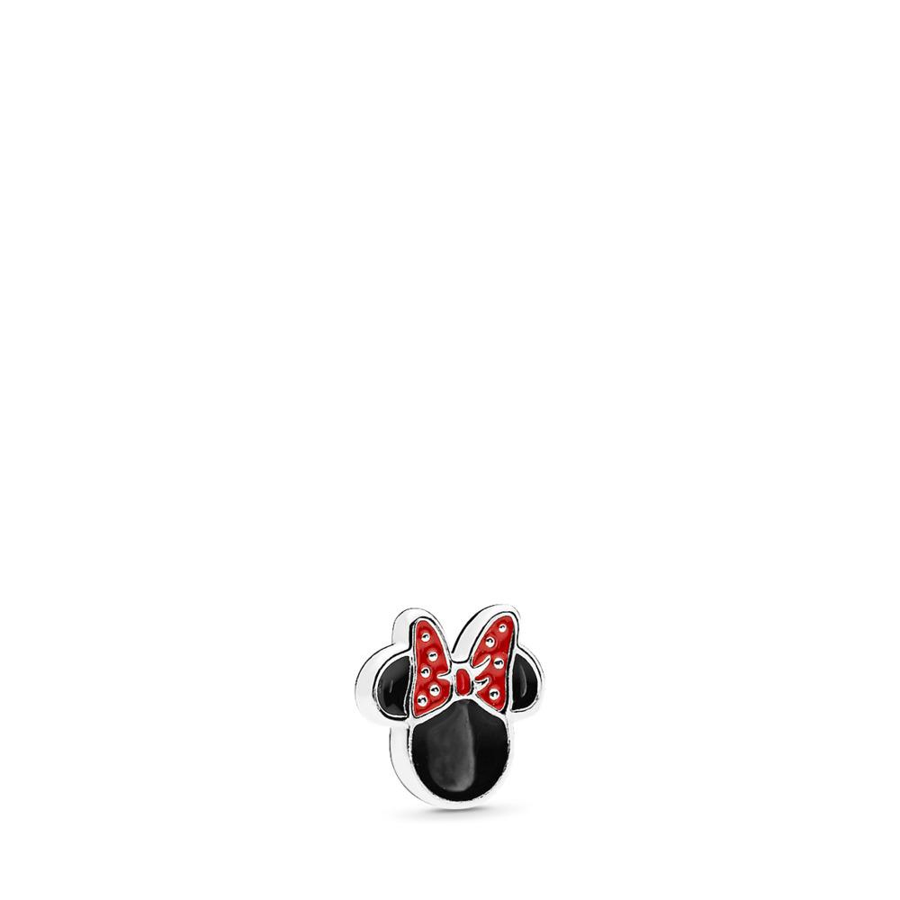 Disney, Minnie Icon Petite Locket Charm, Red & Black Enamel, Sterling silver, Enamel, Black - PANDORA - #796520ENMX