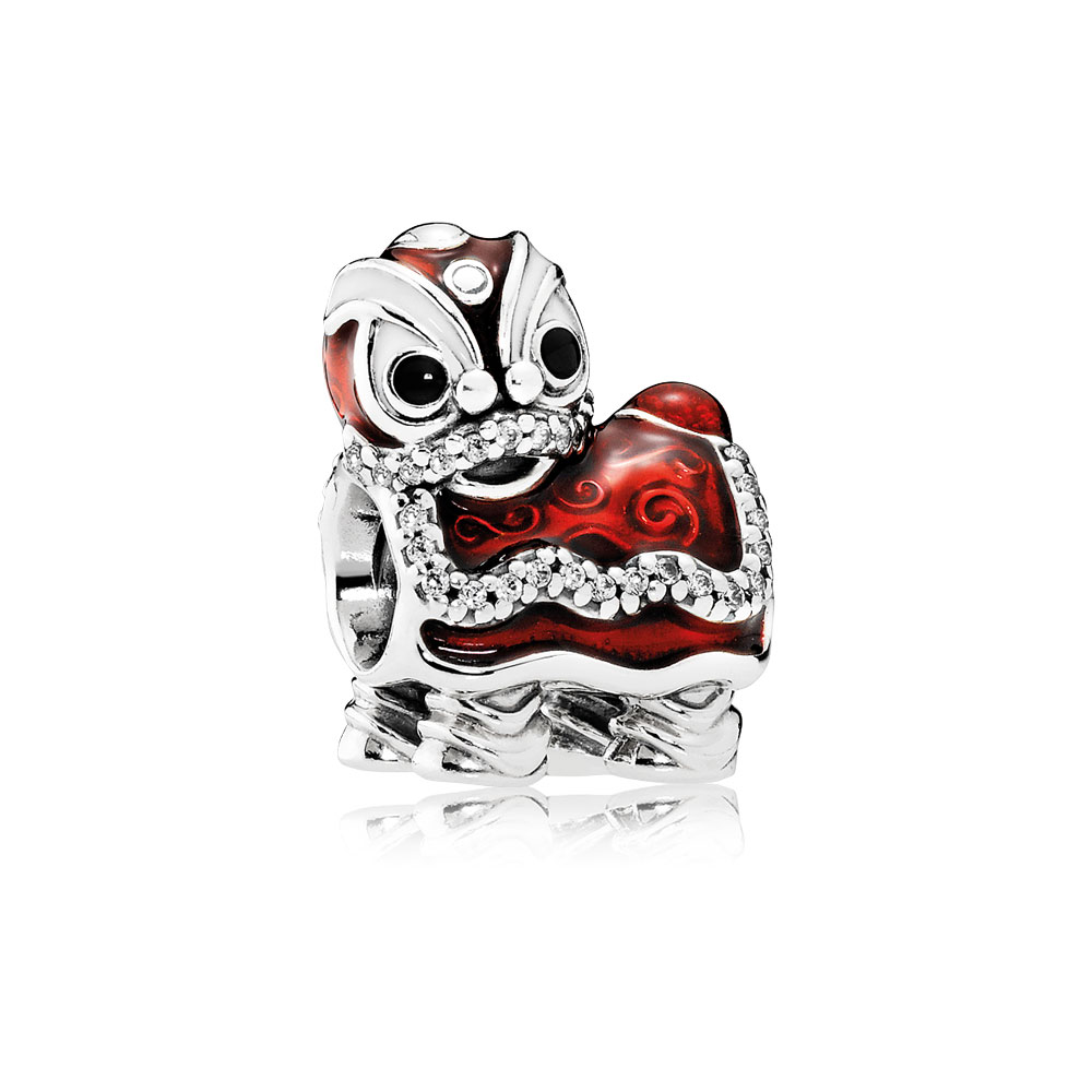 Chinese Lion Dance Charm, Mixed Enamel