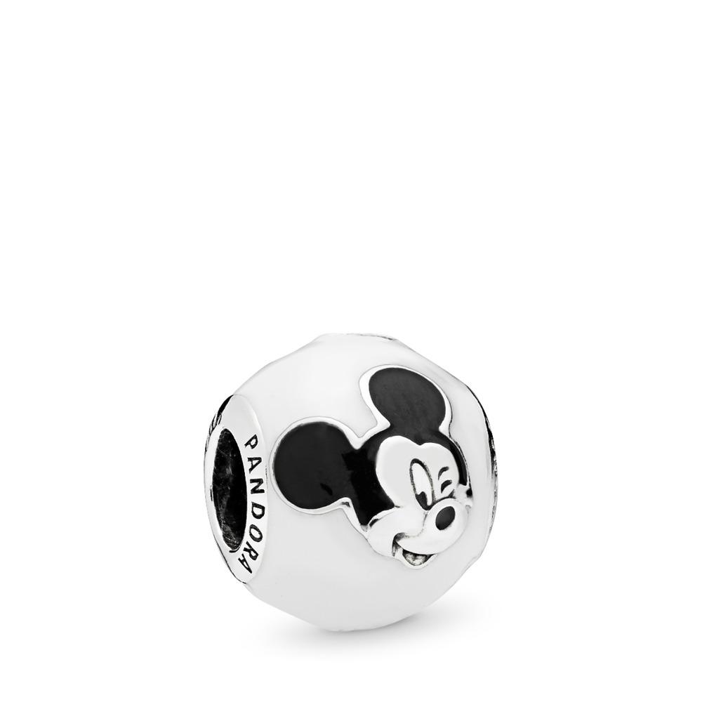 Disney, Expressive Mickey Charm, White & Black Enamel, Sterling silver, Enamel, Black - PANDORA - #796339ENMX