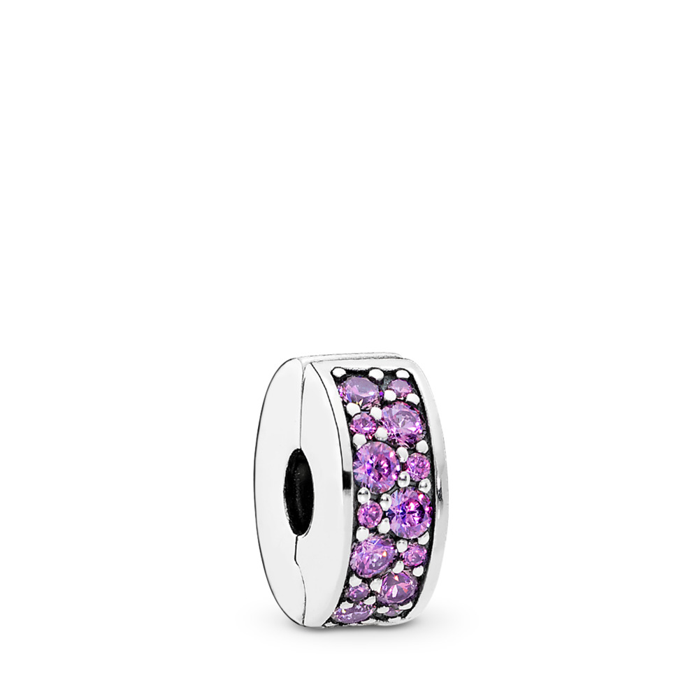 Shining Elegance Clip, Fancy Purple CZ, Sterling silver, Silicone, Purple, Cubic Zirconia - PANDORA - #791817CFP