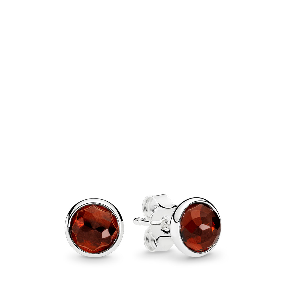 January Droplets Stud Earrings, Garnet, Sterling silver, Red, Garnet - PANDORA - #290738GR
