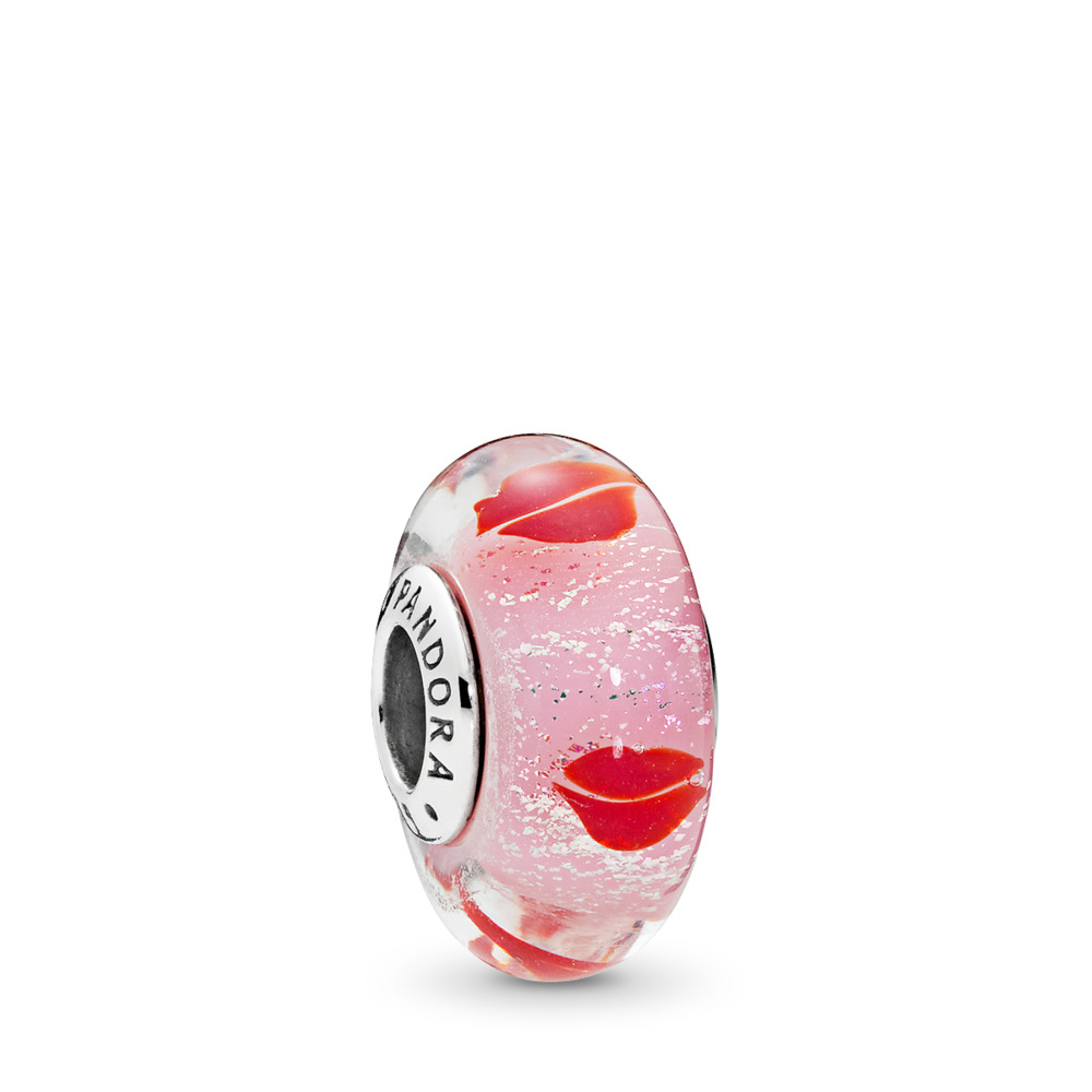 Kisses All Around Charm, Murano Glass, Sterling silver, Glass, Pink - PANDORA - #796598