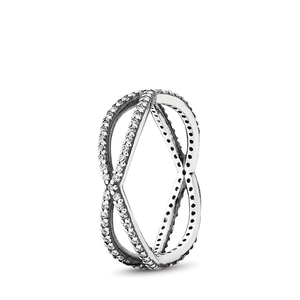 Crossing Paths Ring, Clear CZ, Sterling silver, Cubic Zirconia - PANDORA - #190930CZ
