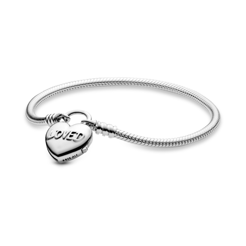 You Are Loved Heart Padlock Bracelet, Sterling silver - PANDORA - #597806