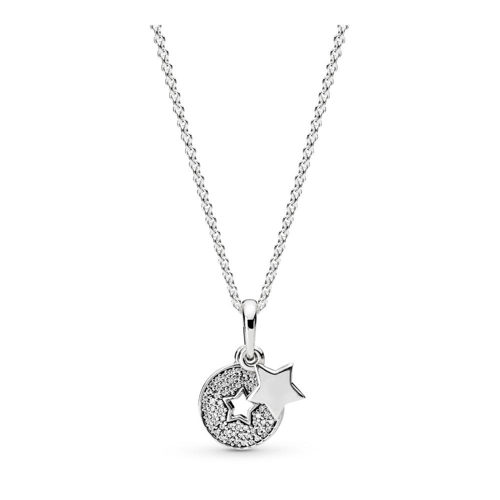 Celebration Stars Necklace, Clear CZ, Sterling silver, Cubic Zirconia - PANDORA - #396375CZ