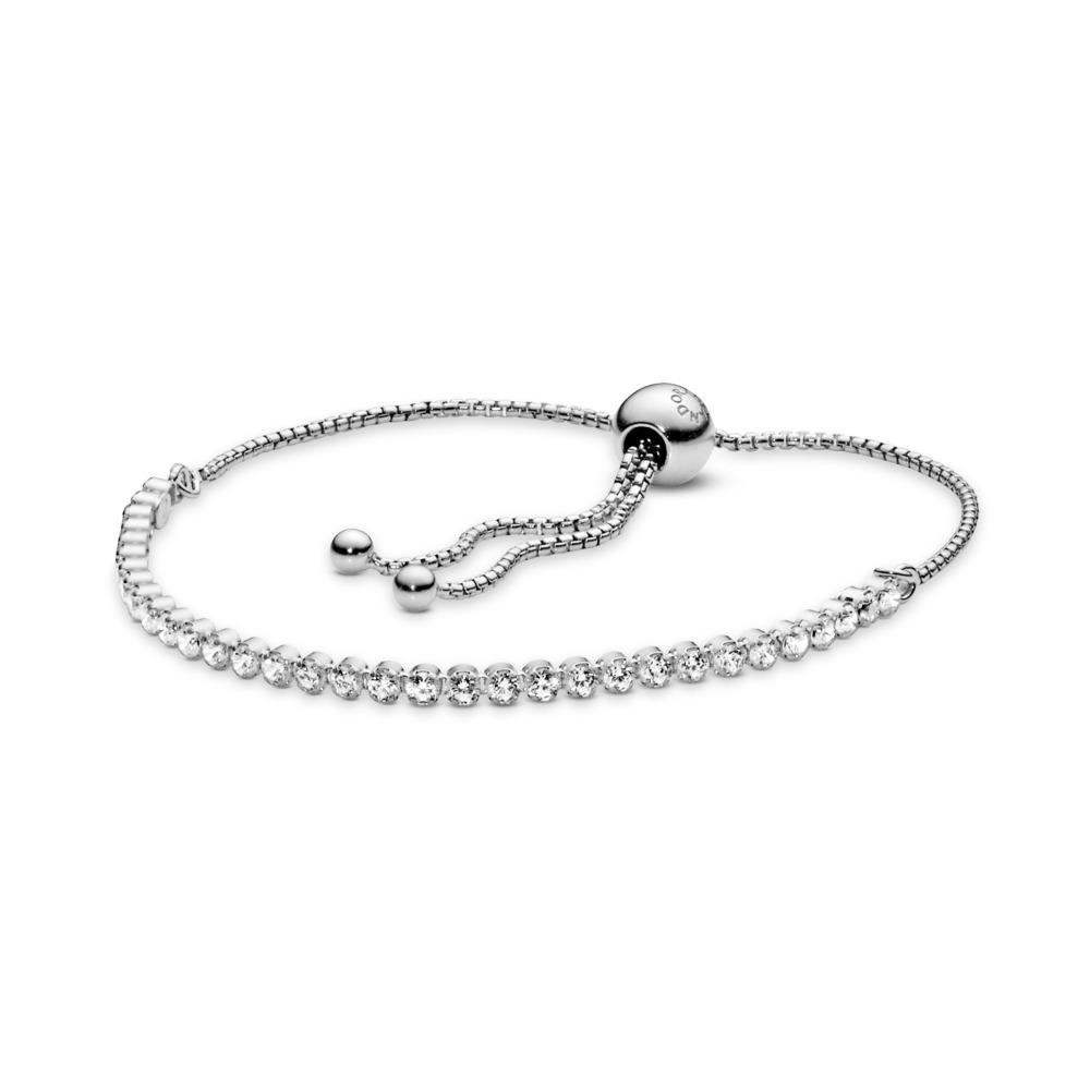 Sparkling Strand Bracelet, Clear CZ, Sterling silver, Silicone, Cubic Zirconia - PANDORA - #590524CZ