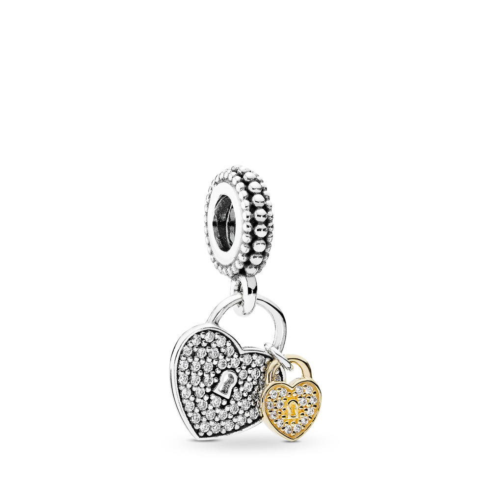 Love Locks Dangle Charm, Clear CZ, Two Tone, Cubic Zirconia - PANDORA - #791807CZ