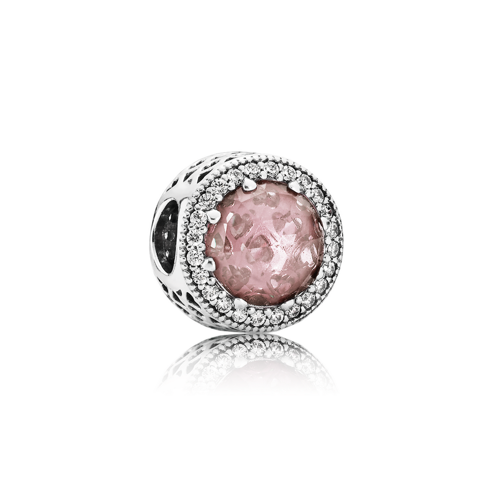 Radiant Hearts Charm, Blush Pink Crystal & Clear CZ