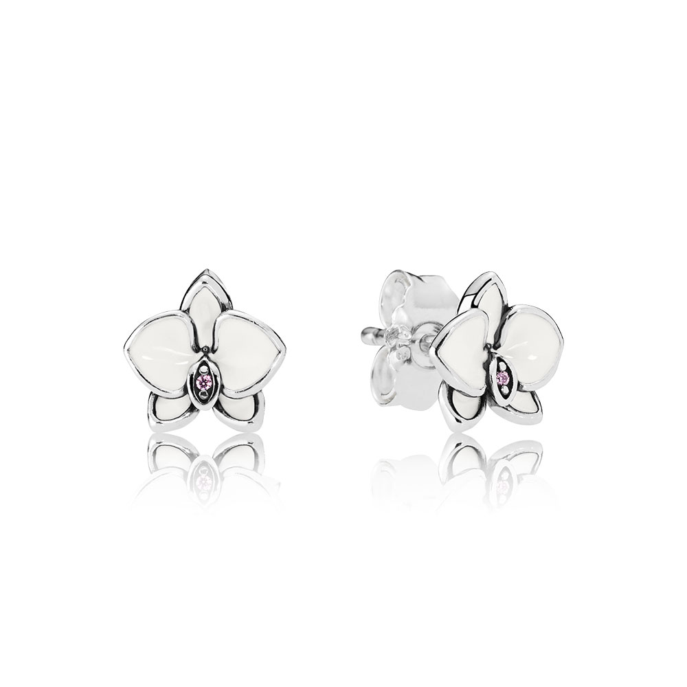 Orchid Stud Earrings, White Enamel & Clear CZ