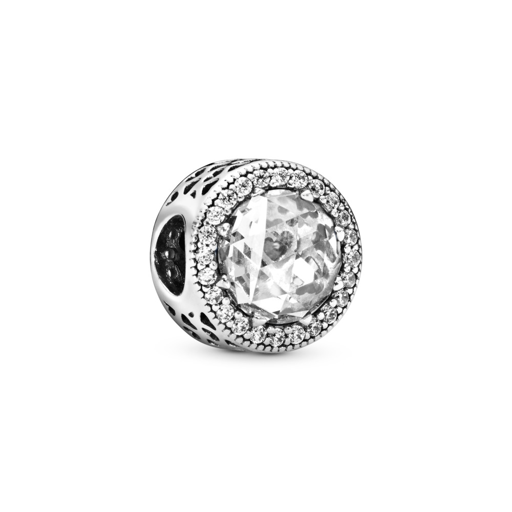 Radiant Hearts Charm, Clear CZ, Sterling silver, Cubic Zirconia - PANDORA - #791725CZ
