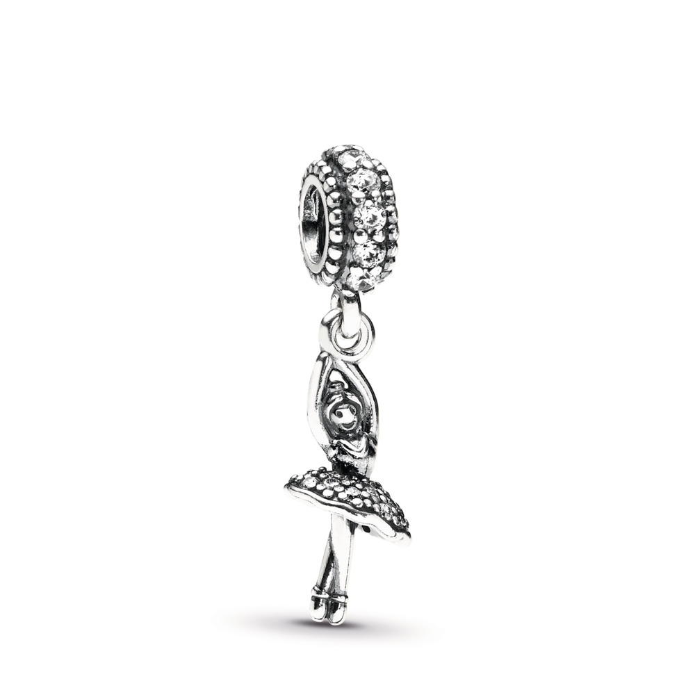Ballerina Dangle Charm, Clear CZ, Sterling silver, Cubic Zirconia - PANDORA - #791365CZ