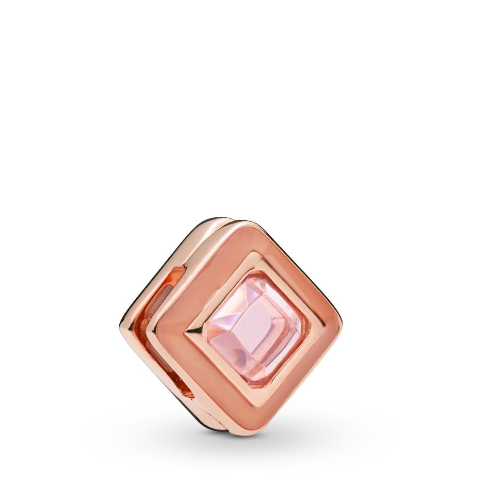 Pandora Reflexions™ Sparkling Pink Square Clip Charm, PANDORA Rose, Enamel, Pink, Crystal - PANDORA - #787888NPO