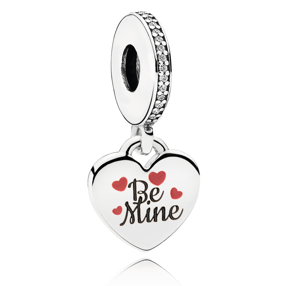 Be Mine Engraved Heart Dangle, Sterling silver, Cubic Zirconia - PANDORA - #ENG792017CZ_4