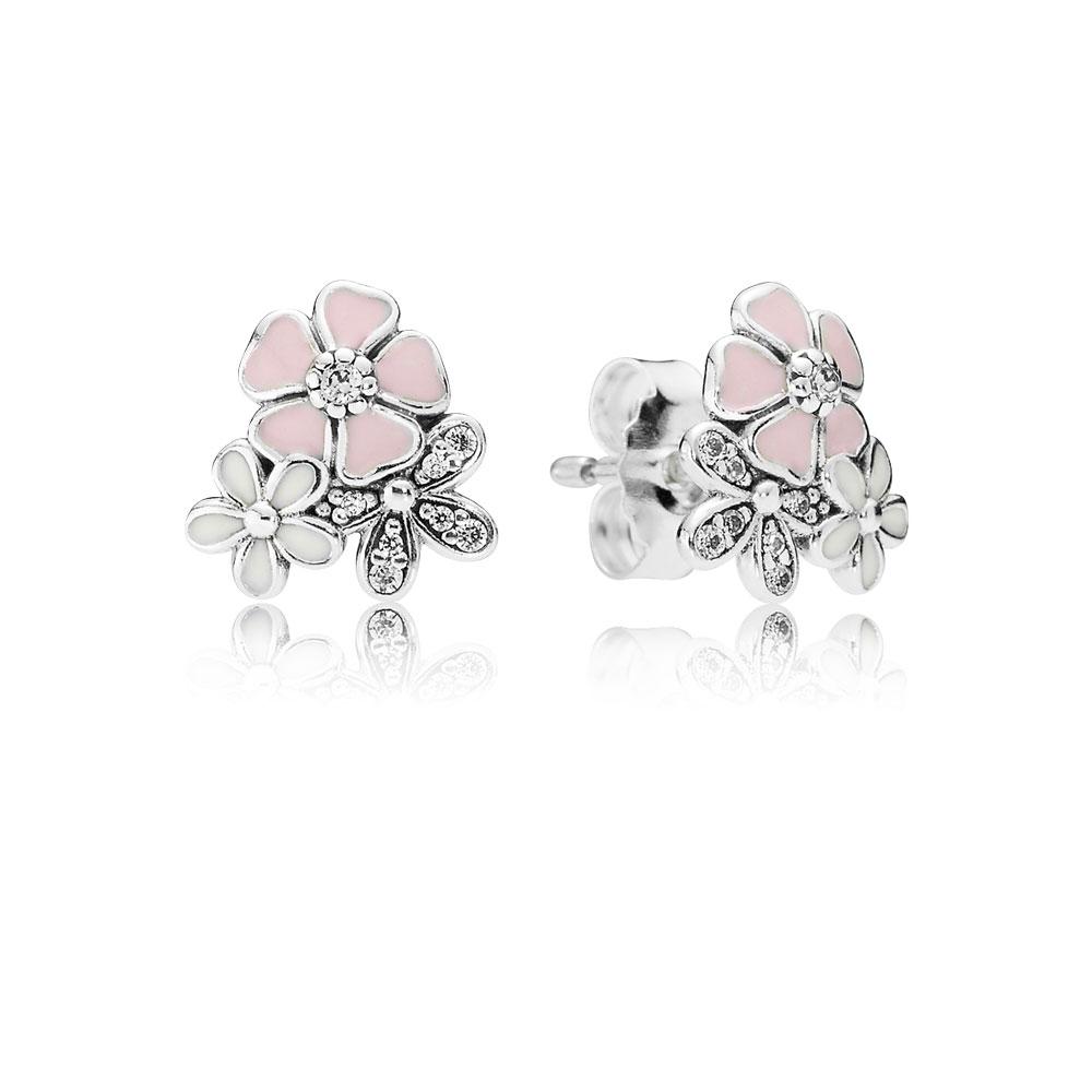 Poetic Blooms Stud Earrings, Mixed Enamels & Clear CZ
