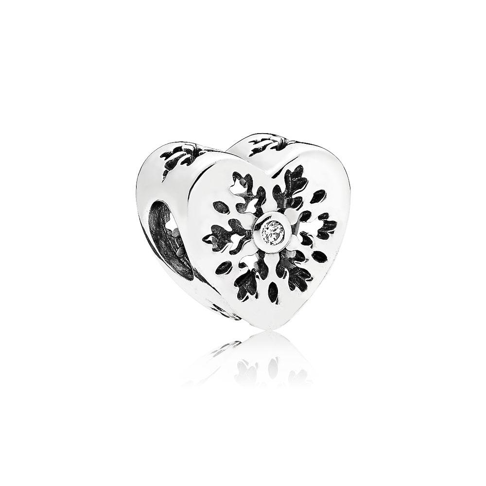 Snowflake Heart Charm, Clear CZ
