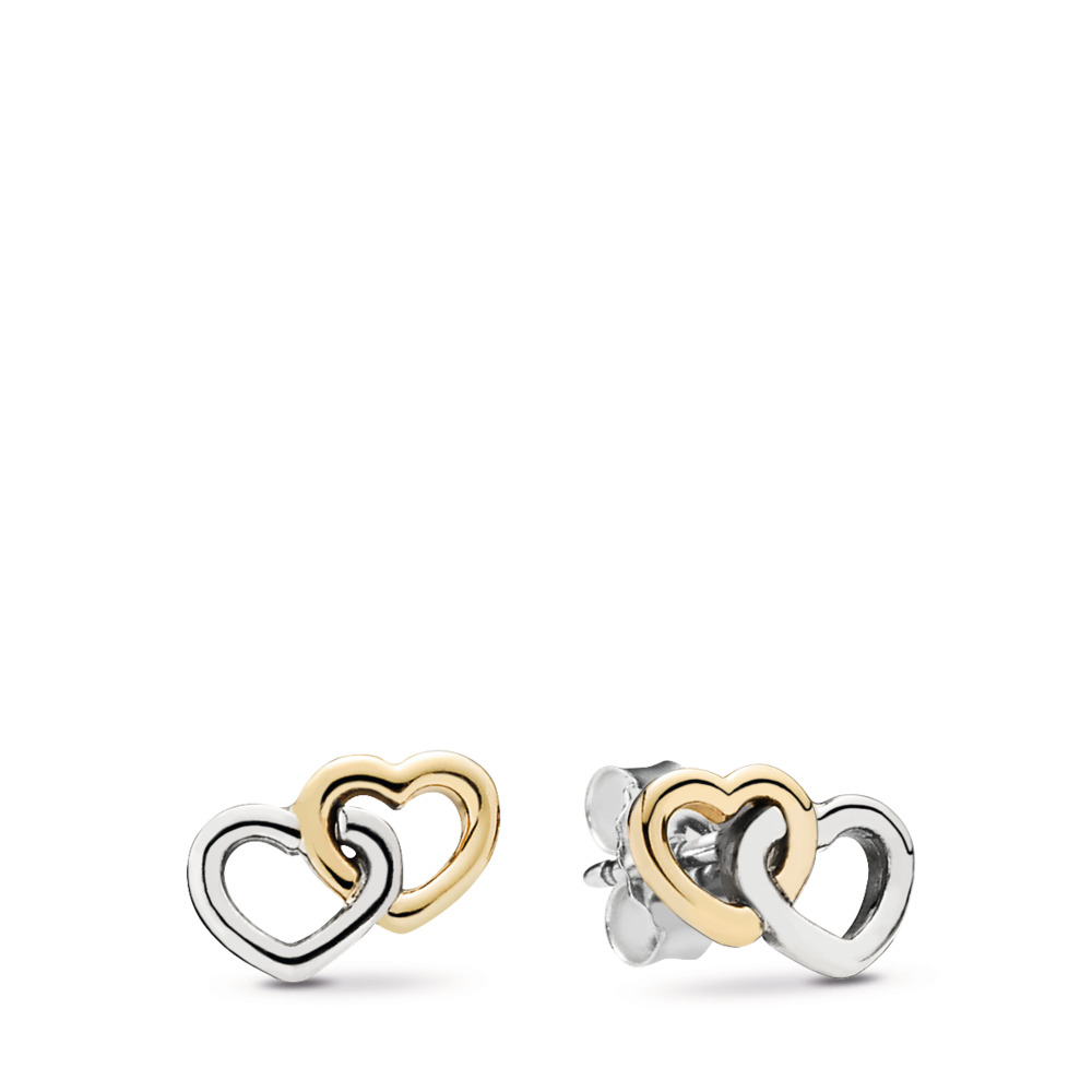Heart To Heart Stud Earrings, Two Tone - PANDORA - #290567