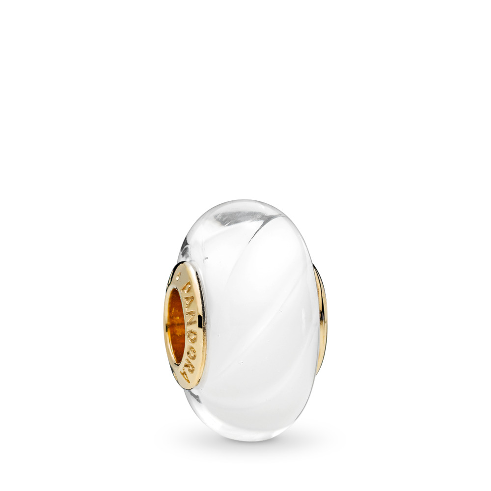 White Waves Charm, PANDORA Shine™ & Murano Glass, 18ct Gold Plated, Glass, White - PANDORA - #767160
