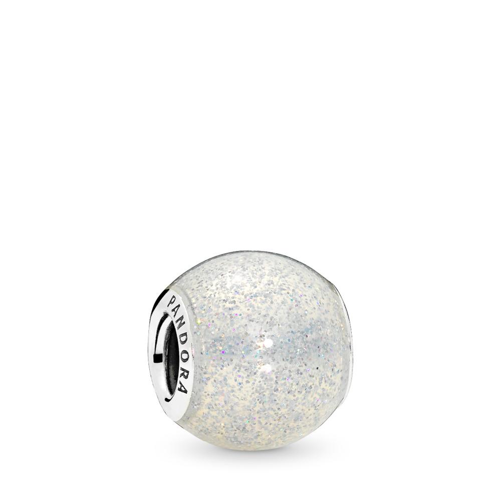Glitter Ball Charm, Silvery Glitter Enamel, Sterling silver, Enamel, White - PANDORA - #796327EN144