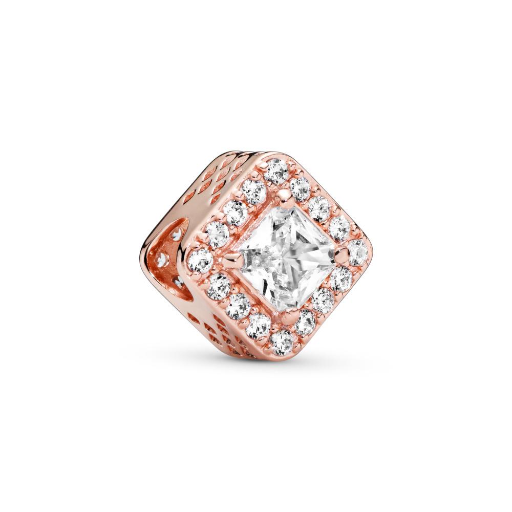 Geometric Radiance Charm, PANDORA Rose™ & Clear CZ, PANDORA Rose, Cubic Zirconia - PANDORA - #786206CZ