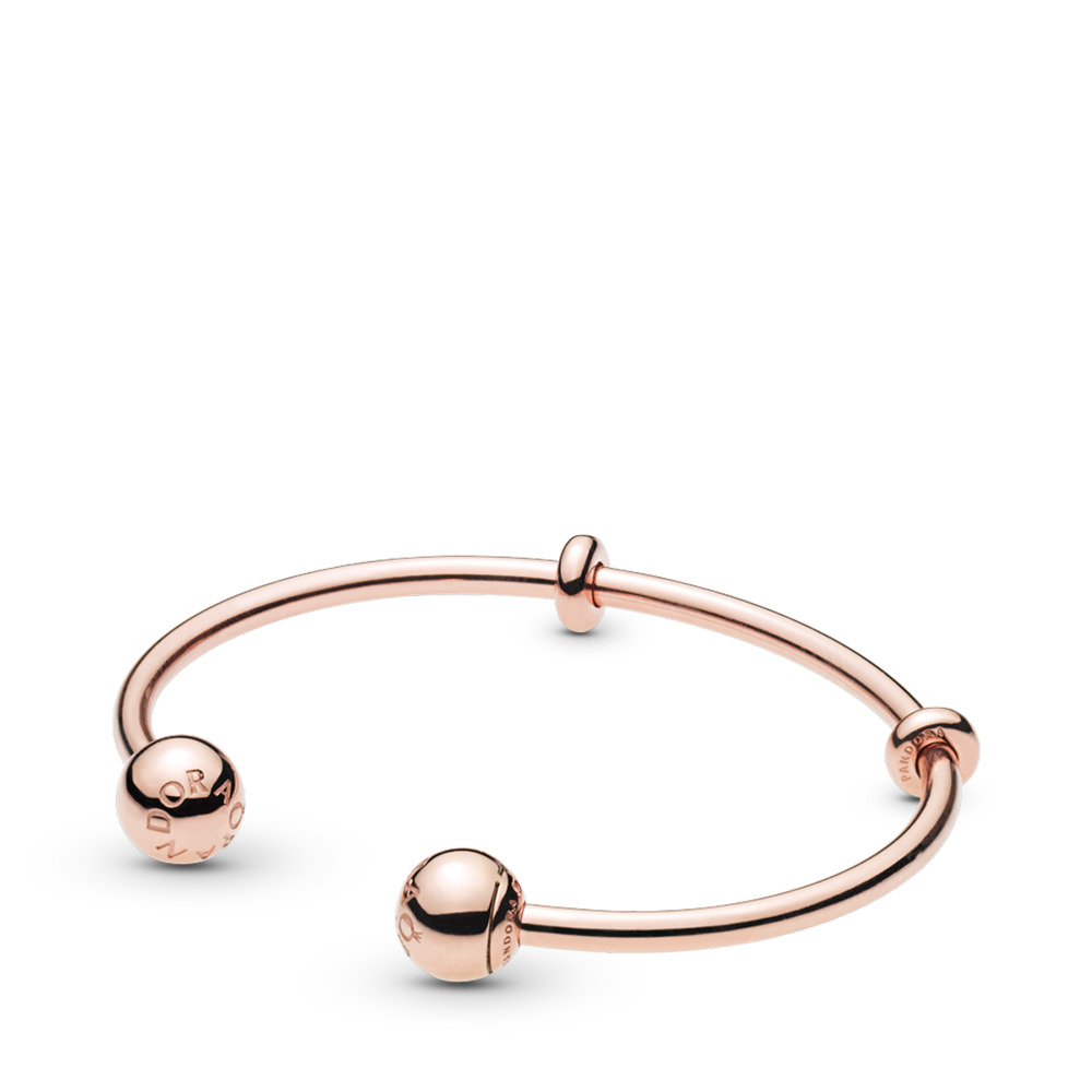 PANDORA Rose™ Open Bangle, PANDORA Logo Caps, PANDORA Rose, Silicone - PANDORA - #586477