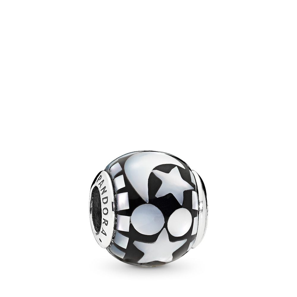 Celestial Mosaic Charm, Black Acrylic & Mother-of-Pearl, Sterling silver, Acrylic, Black, Mother of pearl - PANDORA - #796400MMB