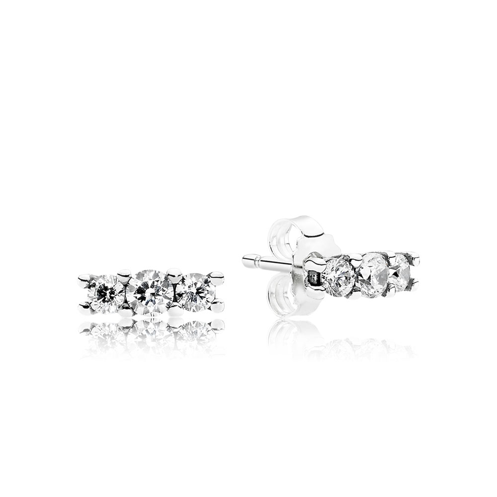 Sparkling Elegance Stud Earrings, Clear CZ