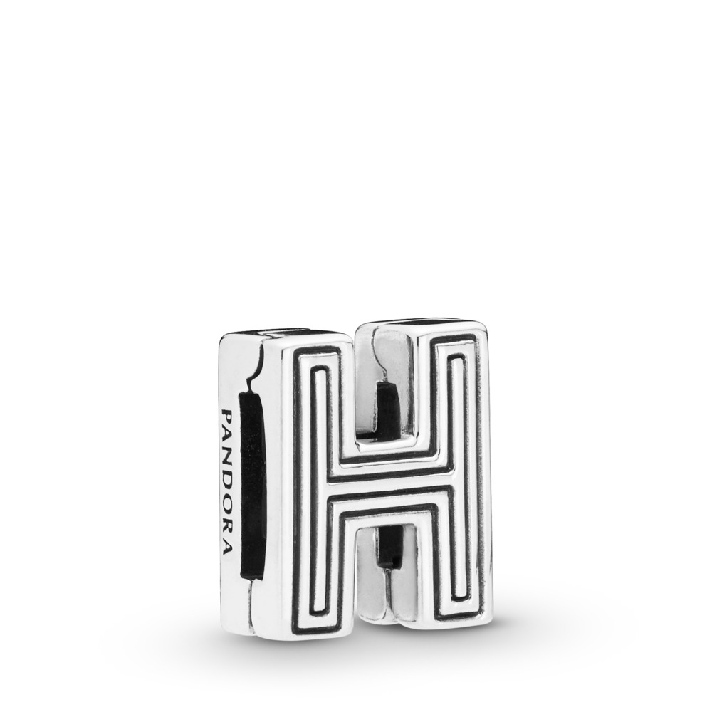 Pandora Reflexions™ Letter H Clip Charm, Sterling silver, Silicone - PANDORA - #798204
