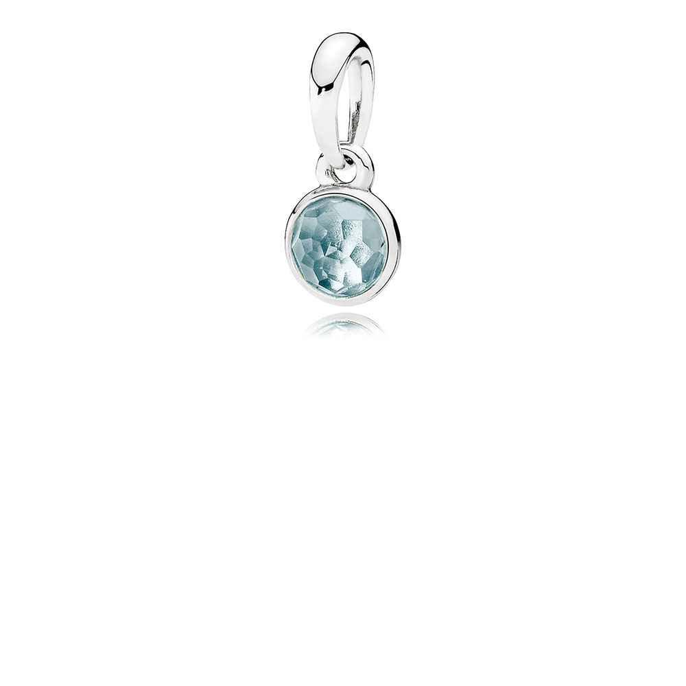 March Droplet Pendant, Aqua Blue Crystal