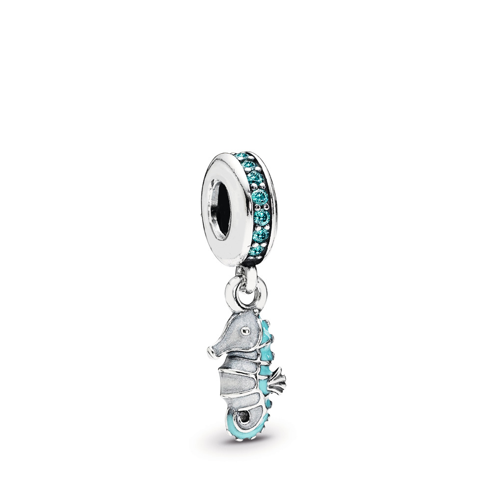 Tropical Seahorse Dangle Charm, Teal CZ & Turquoise Enamel, Sterling silver, Enamel, Turquoise, Cubic Zirconia - PANDORA - #791311MCZ