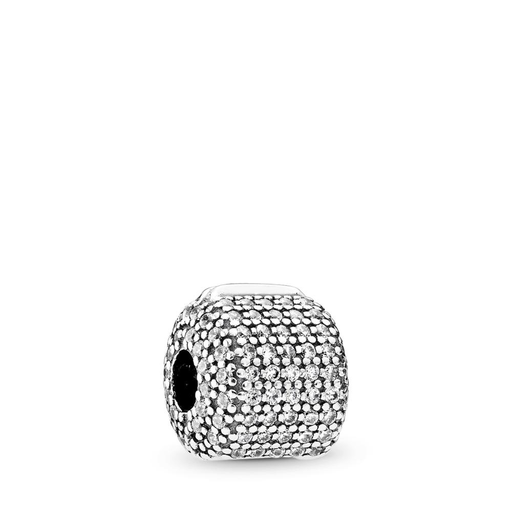 Pavé Barrel Clip, Clear CZ, Sterling silver, Cubic Zirconia - PANDORA - #791873CZ