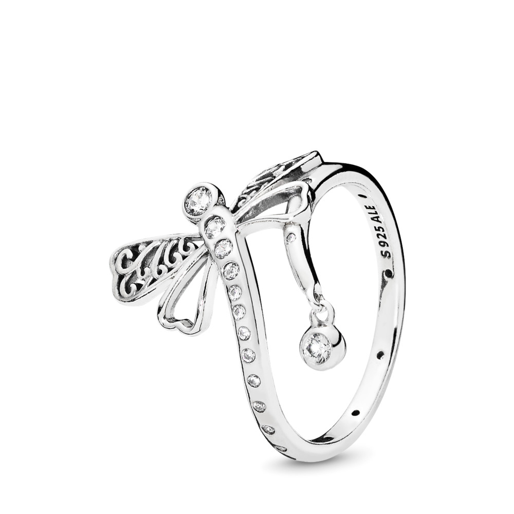 Dreamy Dragonfly Ring, Clear CZ, Sterling silver, Cubic Zirconia - PANDORA - #197093CZ