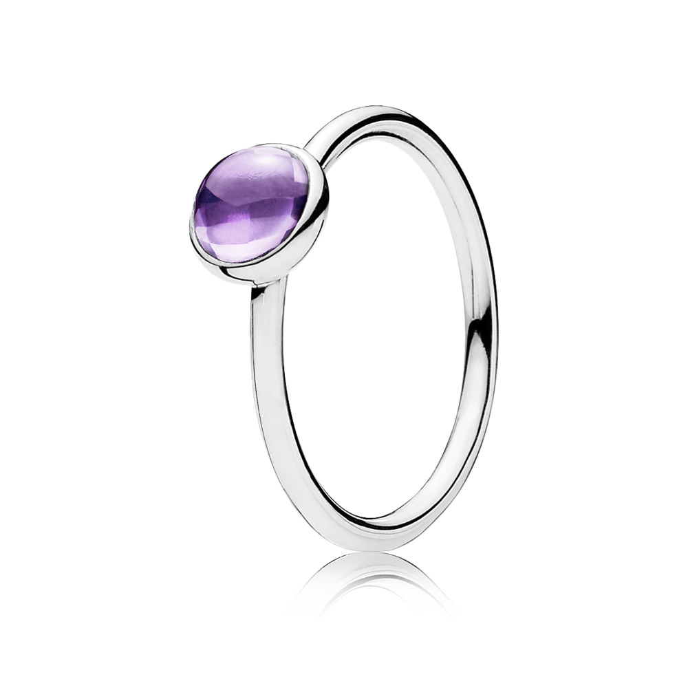 Poetic Droplet Ring, Purple CZ, Sterling silver, Purple, Cubic Zirconia - PANDORA - #190983ACZ