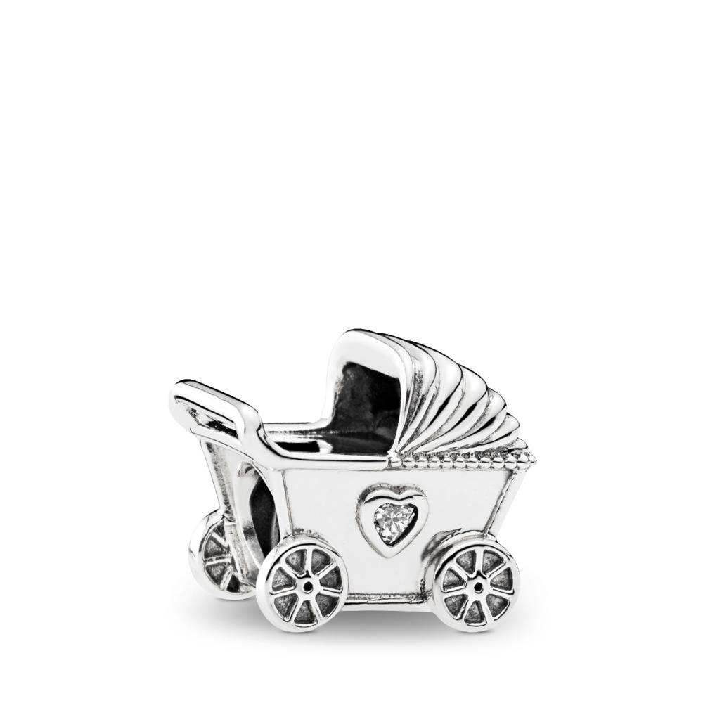 Baby's Pram Charm, Clear CZ, Sterling silver, Cubic Zirconia - PANDORA - #792102CZ