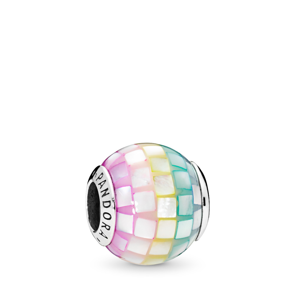 Multi-Color Mosaic Charm, Multi-Colored CZ, Sterling silver, Acrylic, Blue, Mother of pearl - PANDORA - #797183MPR