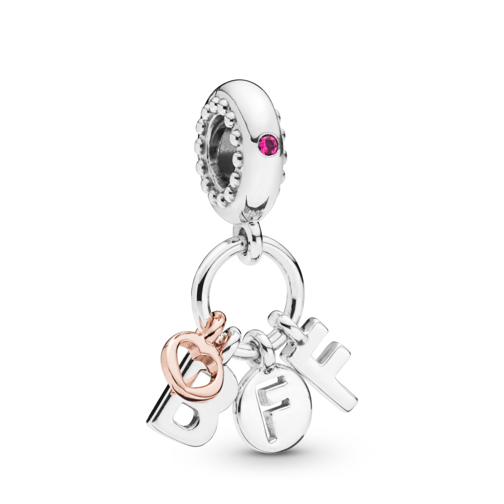 Best Friends Forever Dangle Charm, PANDORA Rose with sterling silver, Pink, Crystal - PANDORA - #788165NCC