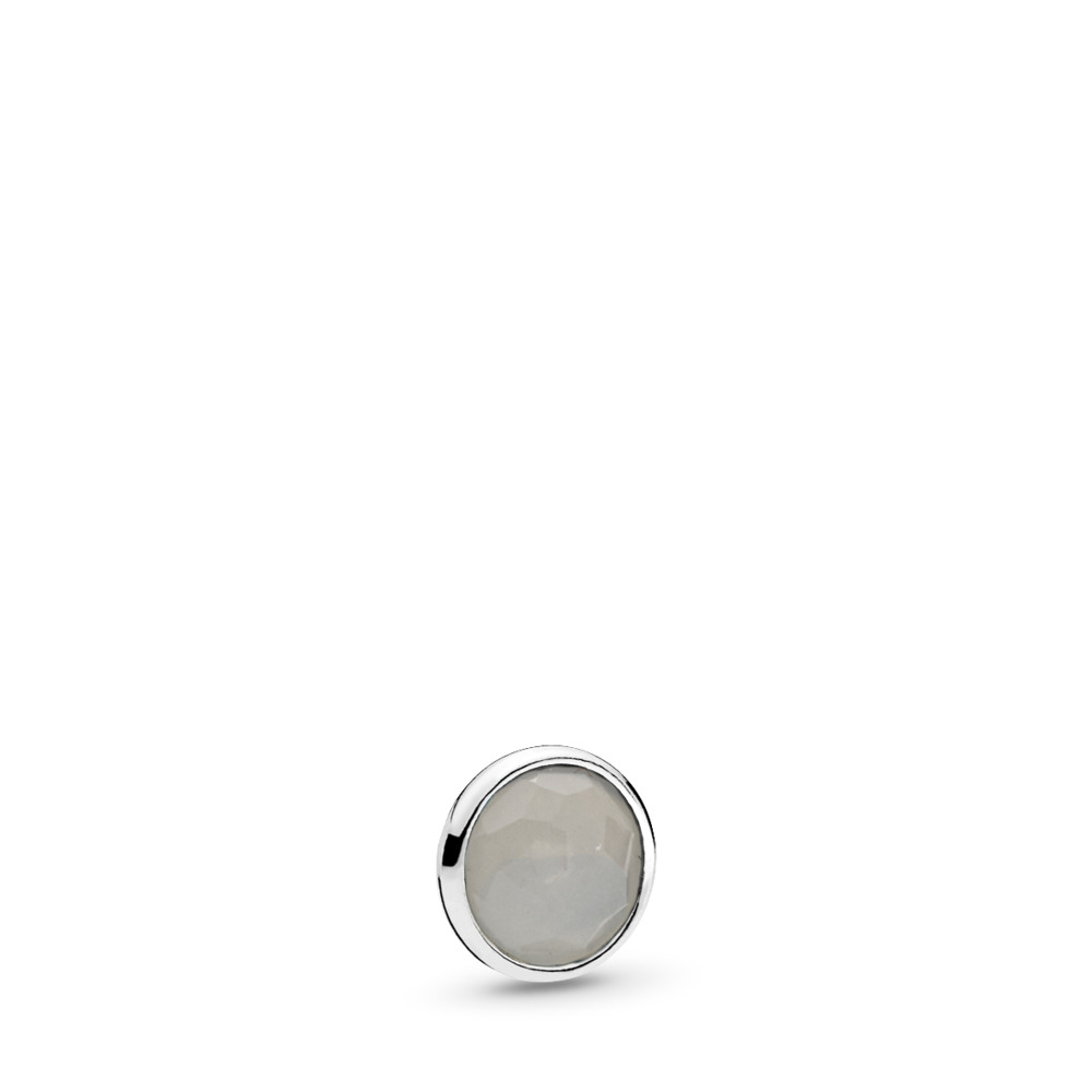 June Droplet Petite Locket Charm, Sterling silver, Moonstone - PANDORA - #792175MSG