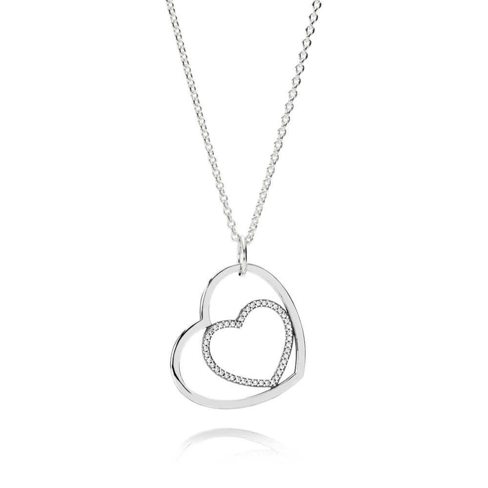 Heart To Heart Pendant Necklace, Clear CZ, Sterling silver, Cubic Zirconia - PANDORA - #390364CZ