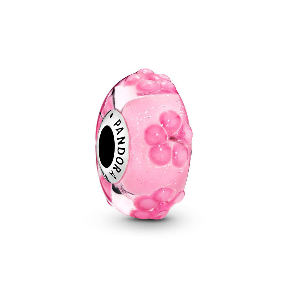 Pink Flower Glass Charm, Sterling silver, Glass, Pink - PANDORA - #797901