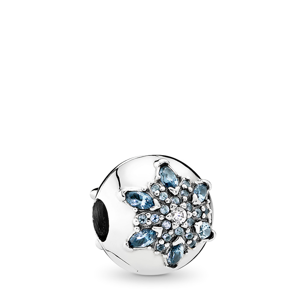Crystalized Snowflake, Multi-Colored Crystal & Clear CZ, Sterling silver, Blue, Mixed stones - PANDORA - #791997NMB