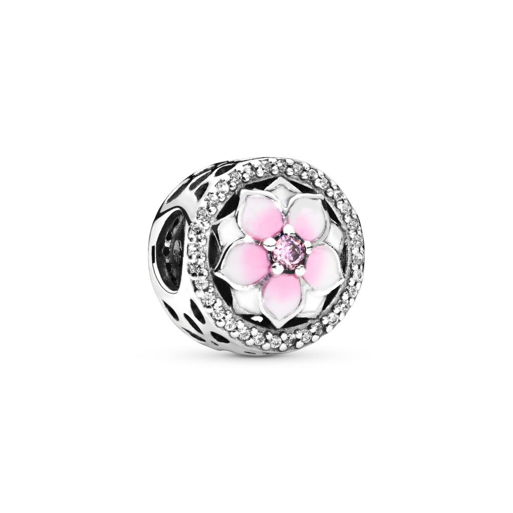 Magnolia Bloom Charm, Pale Cerise Enamel & Pink CZ, Sterling silver, Enamel, Pink, Cubic Zirconia - PANDORA - #792085PCZ