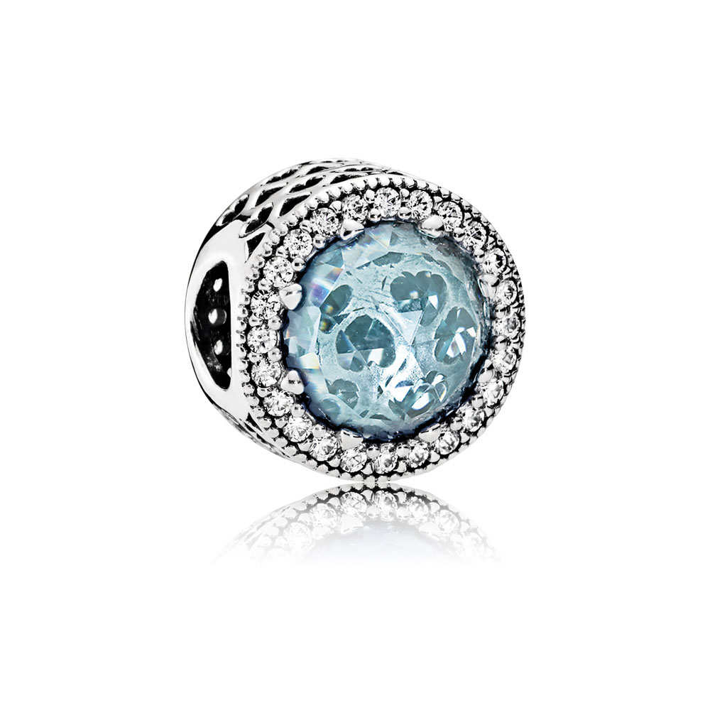 Radiant Hearts Charm, Glacier-Blue Crystals & Clear CZ