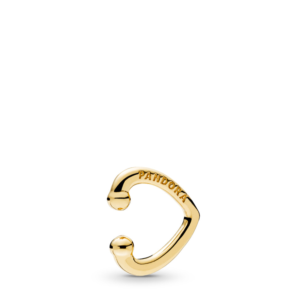 Open Heart Ear Cuff, PANDORA Shine™, 18ct Gold Plated - PANDORA - #267214